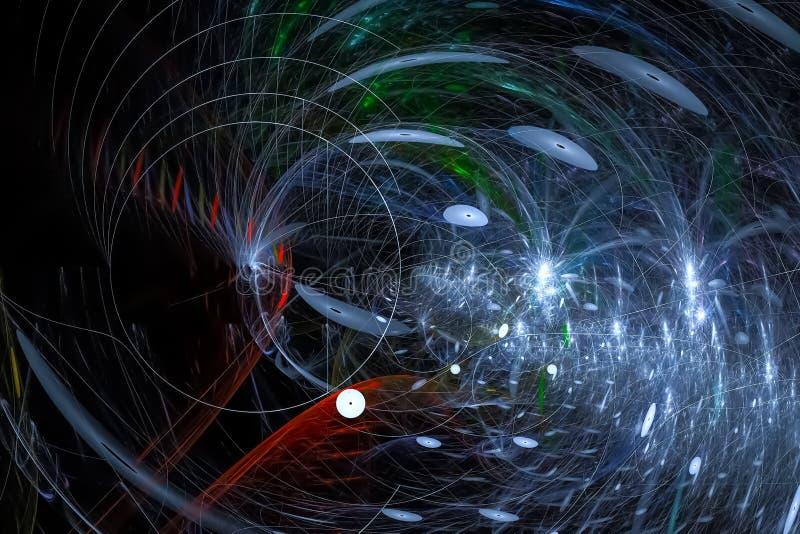 Caos vibrante hermoso oscuro del poder de la imaginación de la fantasía digital abstracta del fractal ilustración del vector