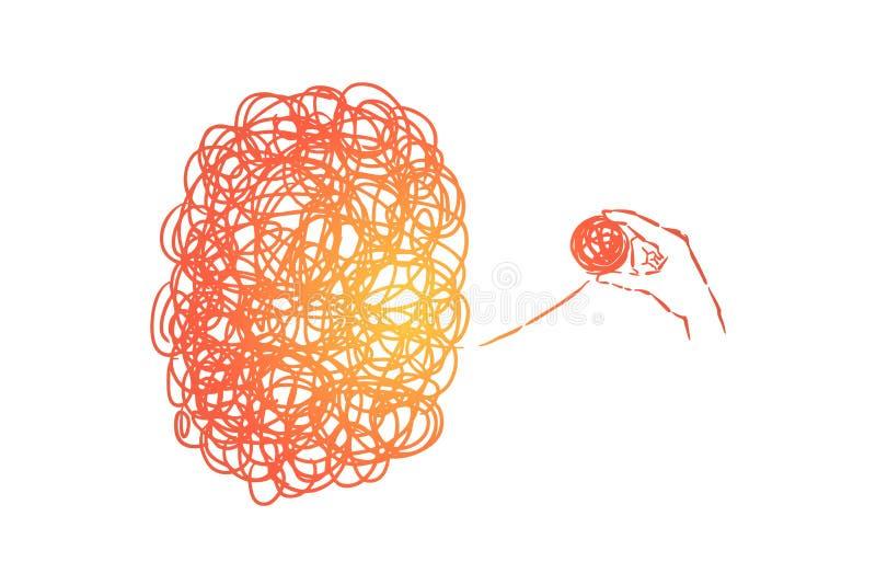 Caos y lío, complicación, problema, situación difícil que soluciona, metáfora de la psicoterapia stock de ilustración