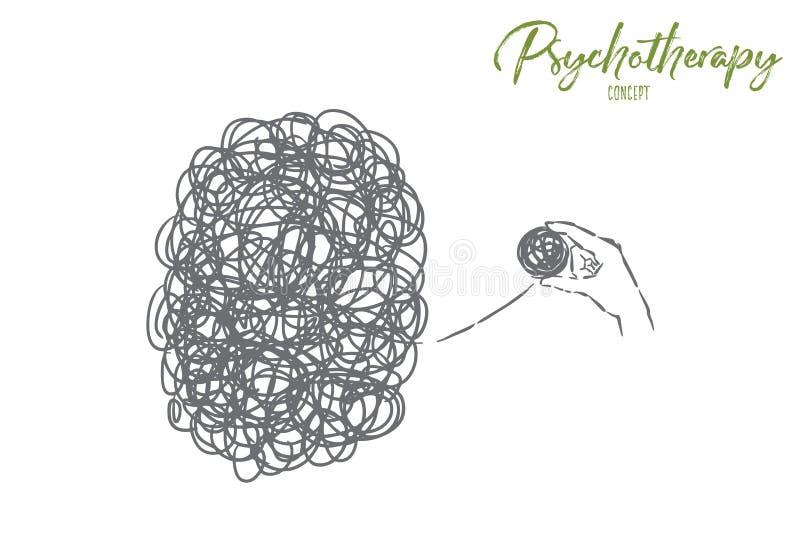 Caos y lío, complicación, problema, situación difícil que soluciona, metáfora de la psicoterapia ilustración del vector