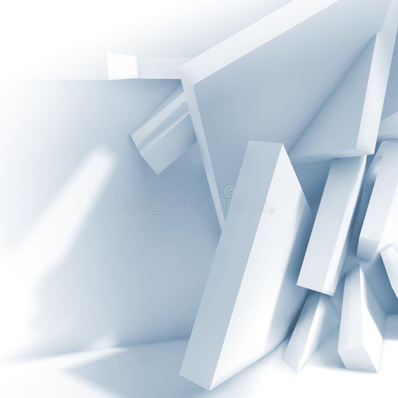 Caotico inscatola vicino alla parete di sala vuota 3d illustrazione vettoriale