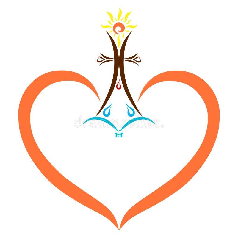 Capítulo bajo la forma de corazón con símbolos cristianos, religión ilustración del vector