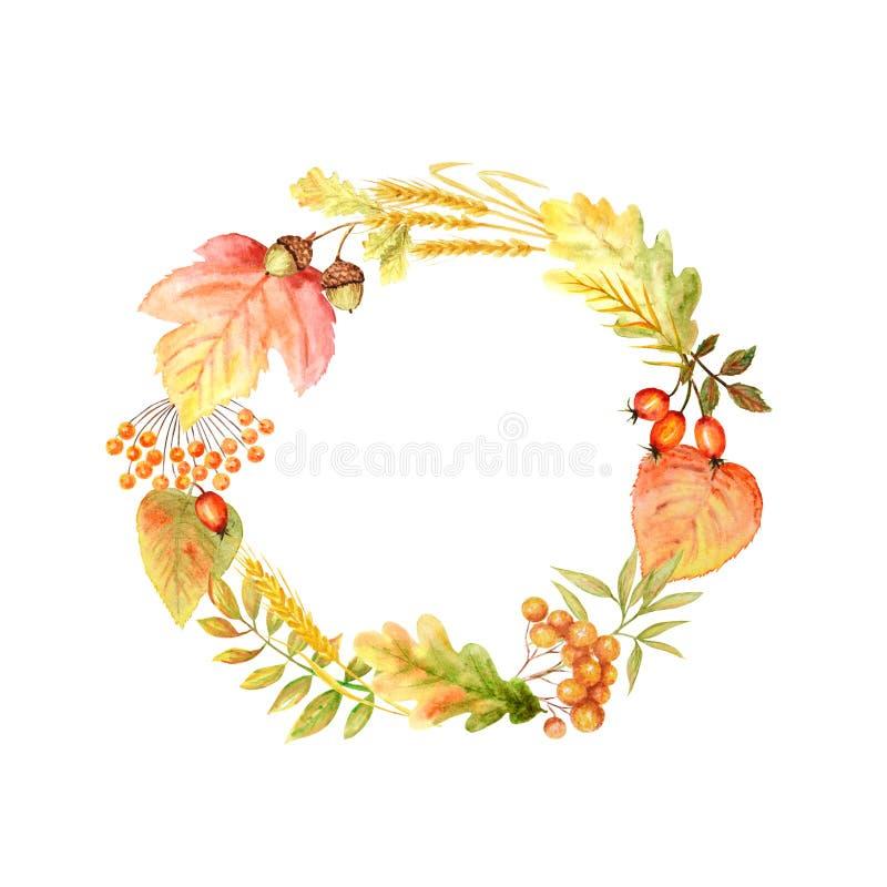 Capítulo brillante de la hoja del otoño aislado en un fondo blanco Ejemplo exhausto de la mano de la hoja del otoño de la acuarel ilustración del vector