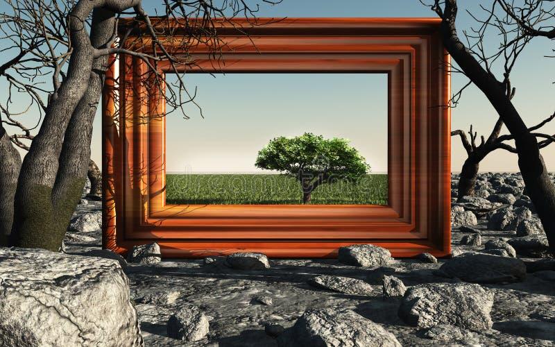 Capítulo con el árbol verde stock de ilustración