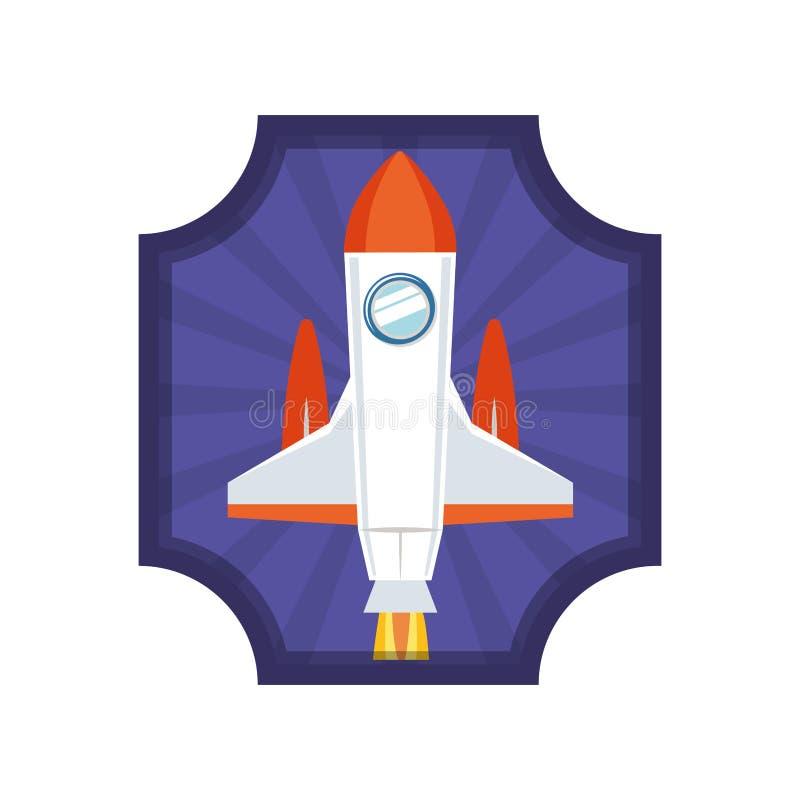 Capítulo con el cohete que saca el icono ilustración del vector