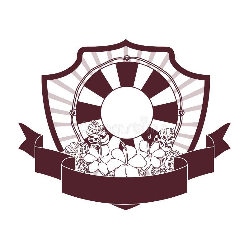Capítulo con el flotador salvavidas en el fondo blanco ilustración del vector