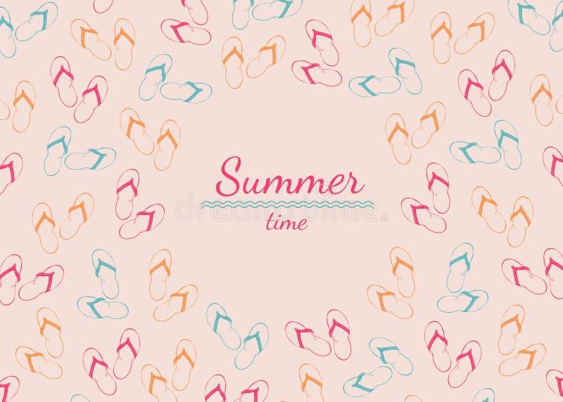 Capítulo con el lugar para el texto de la palmada del verano en fondo rosado ilustración del vector