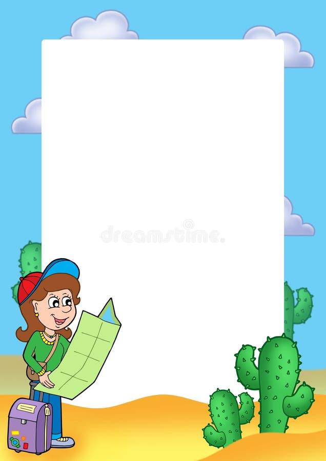Capítulo con el viajero de la muchacha stock de ilustración