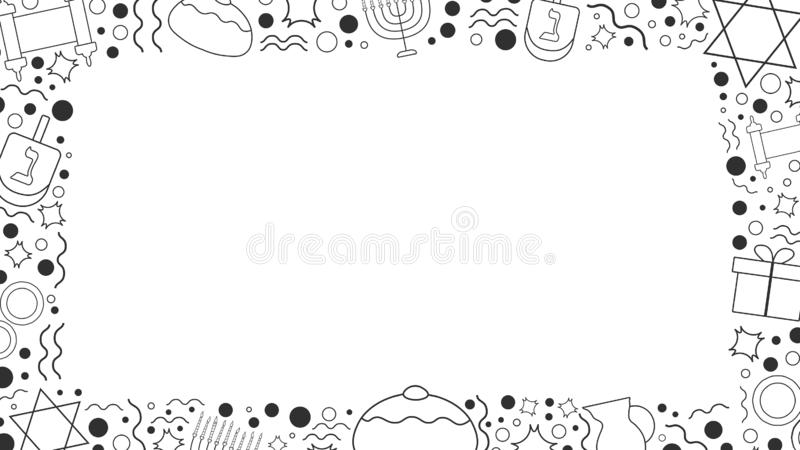 Capítulo con la línea fina iconos del negro plano del diseño del día de fiesta de Jánuca ilustración del vector