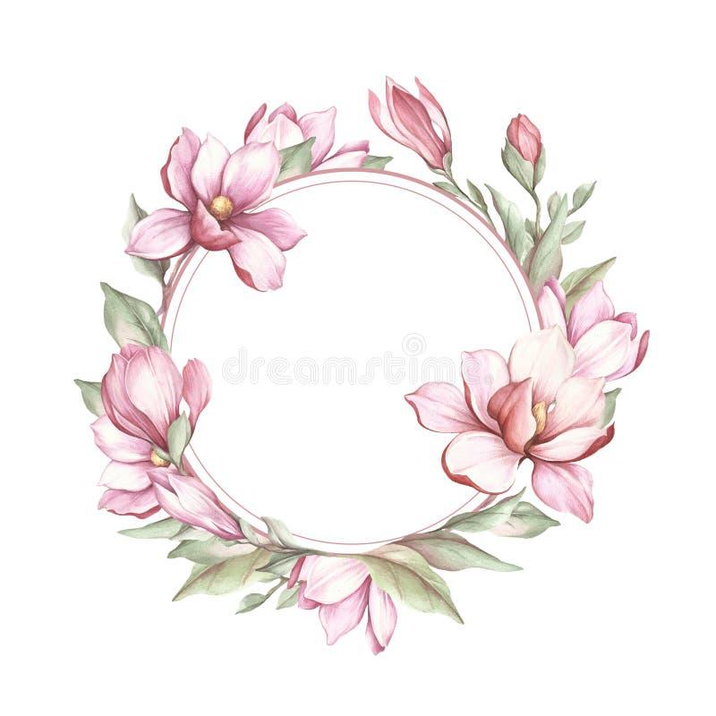 Capítulo con la magnolia floreciente Ejemplo de la acuarela del drenaje de la mano stock de ilustración
