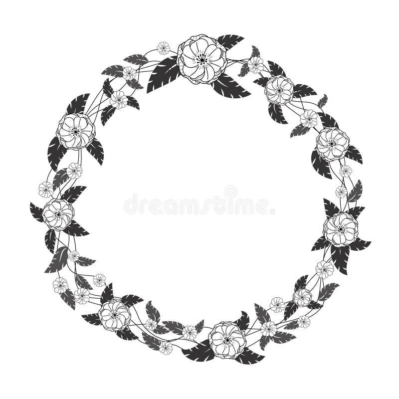 Capítulo con las flores negras, grises y blancas del garabato y las hojas tropicales stock de ilustración