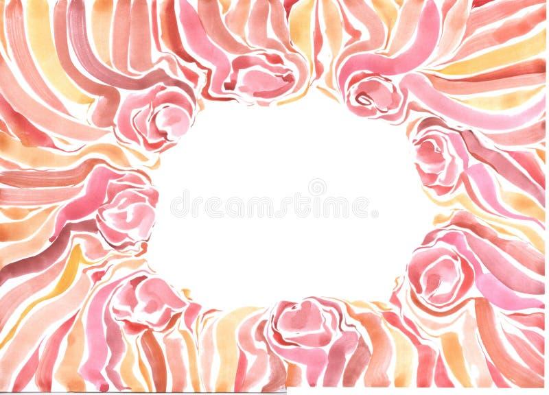 Capítulo con las flores rojas pintadas de la acuarela en un fondo blanco libre illustration