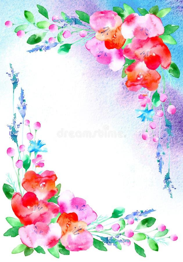 Capítulo con las flores y las hierbas frontera floral de las amapolas y mancha acuosa ilustración del vector