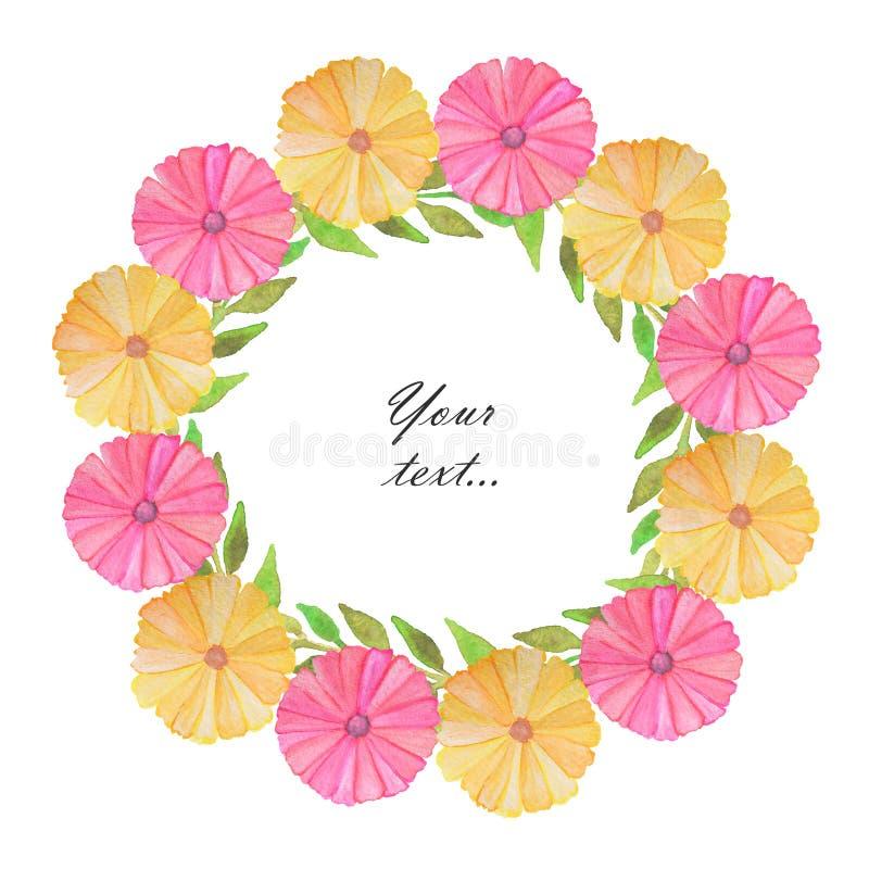 Capítulo con las flores y las hojas lindas de la acuarela en el fondo blanco Saludo, tarjeta de la invitación, cubierta del cuade ilustración del vector