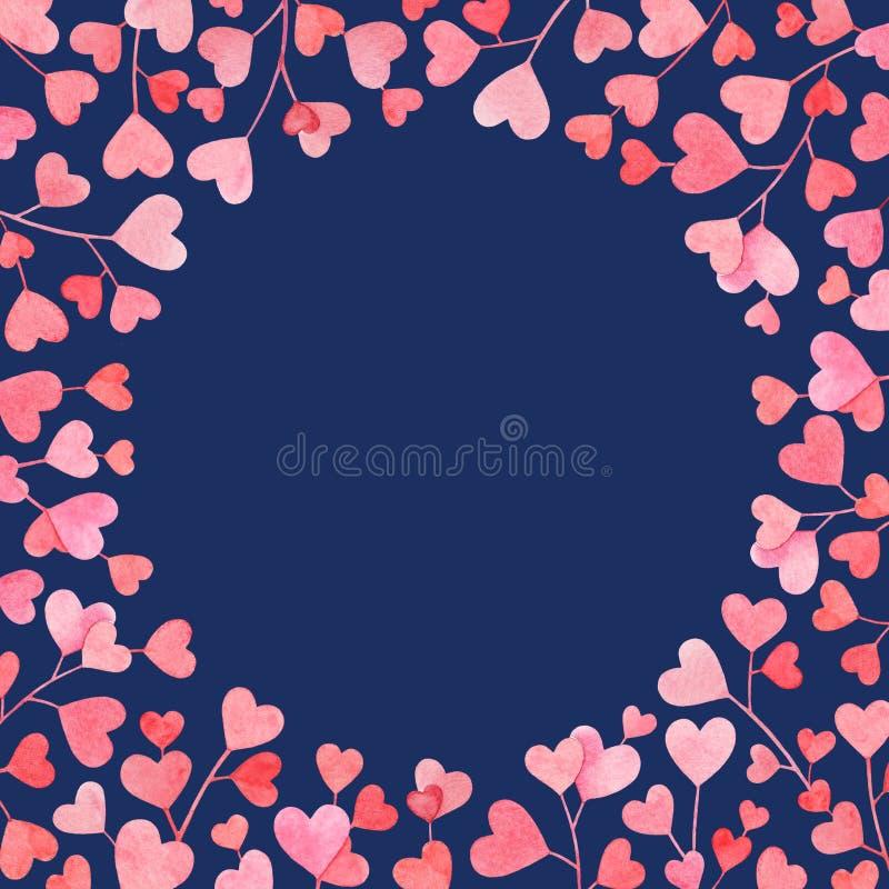 Capítulo con las ramas exhaustas de la mano de la acuarela con el rosa y las hojas en forma de corazón rojas aislados en fondo az stock de ilustración