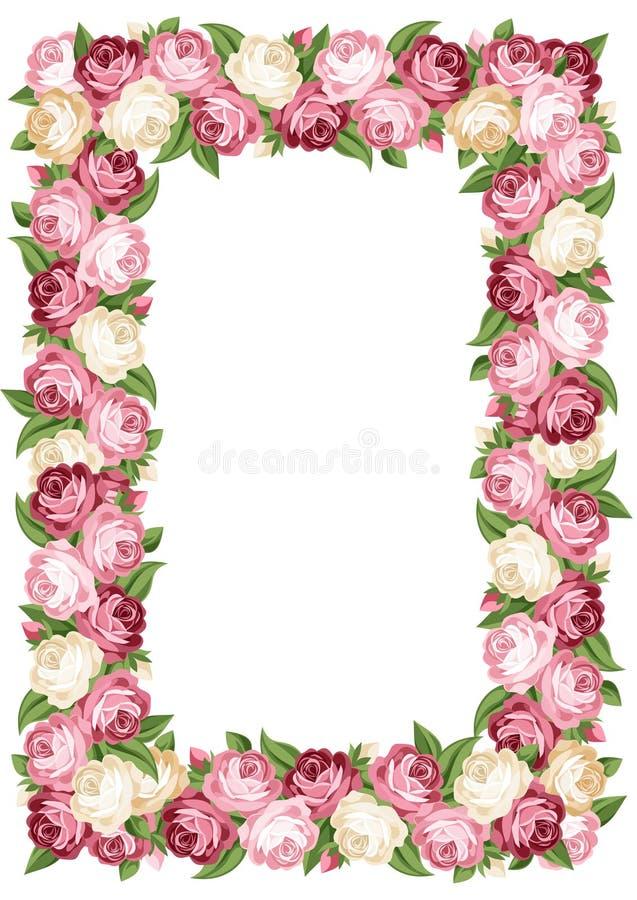 Capítulo con las rosas rosadas y blancas del vintage. libre illustration