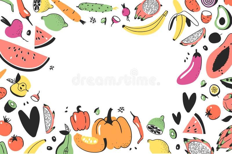 Capítulo con las verduras exhaustas de la mano, frutas Comida artística del vegano del dibujo del garabato del vector Ejemplo veg stock de ilustración