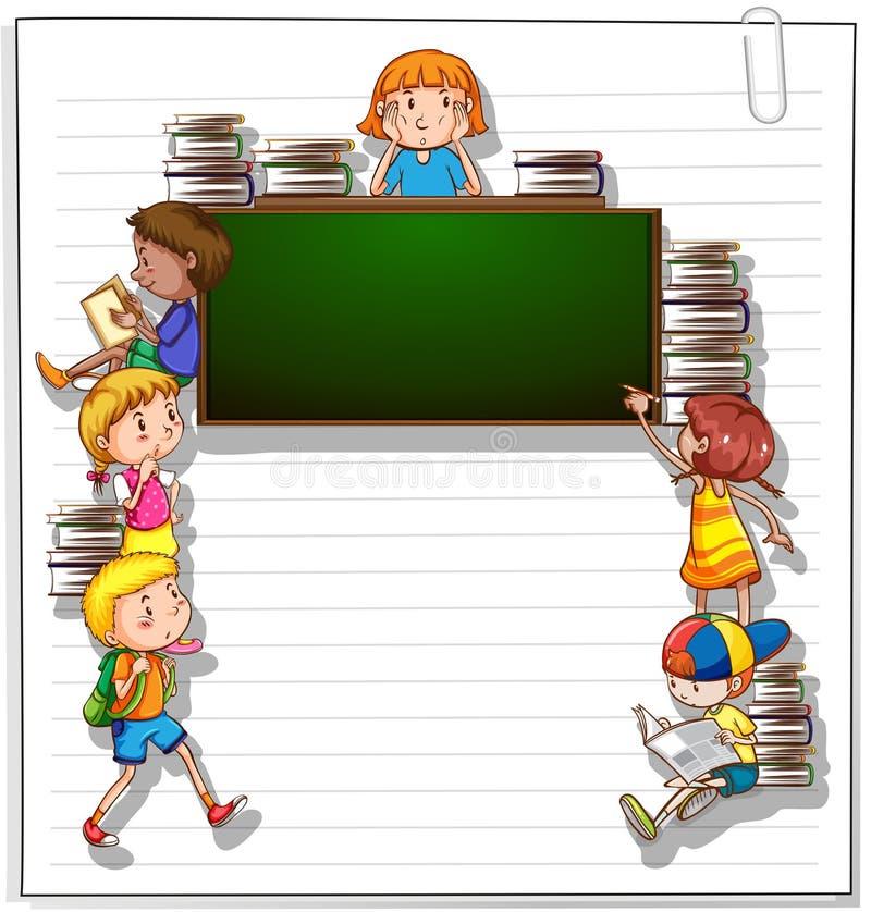 Capítulo con niños y una pizarra libre illustration