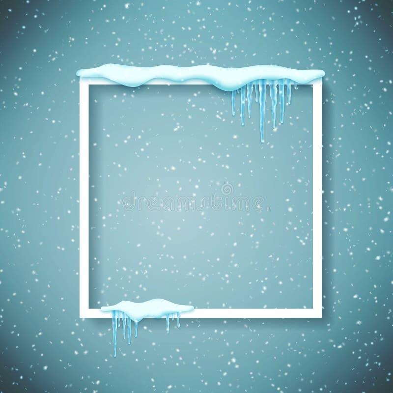 Capítulo con nieve y carámbanos realistas Plantilla hermosa del invierno para la Feliz Navidad Vector stock de ilustración