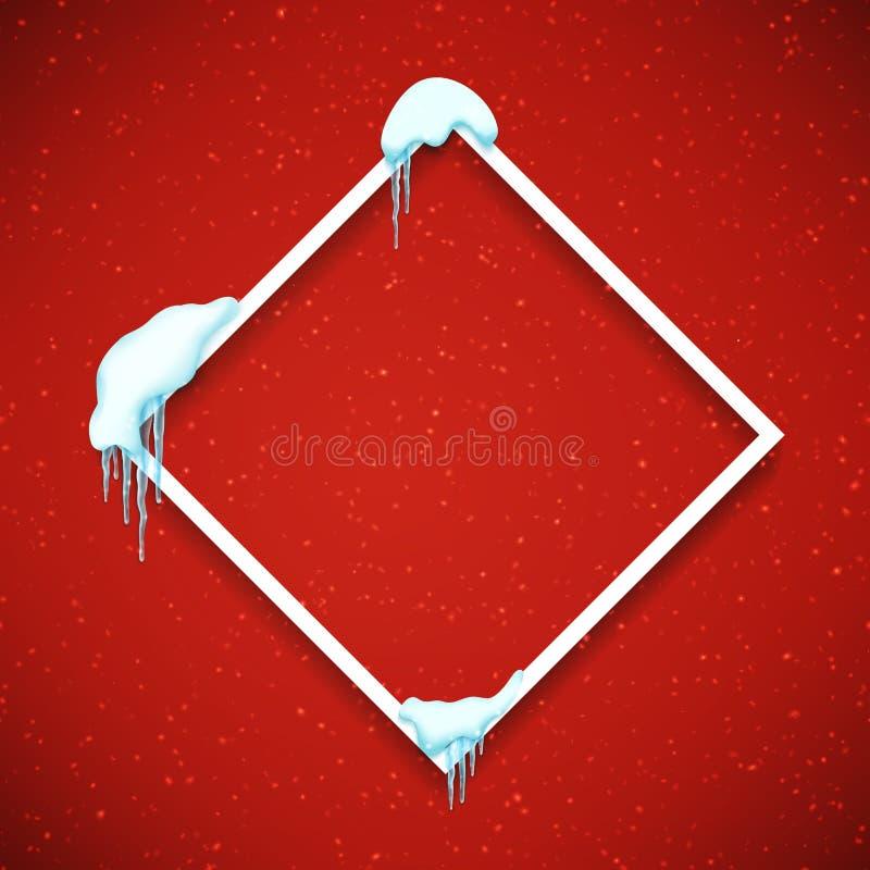 Capítulo con nieve y carámbanos realistas Plantilla hermosa del invierno para la Feliz Navidad Vector ilustración del vector