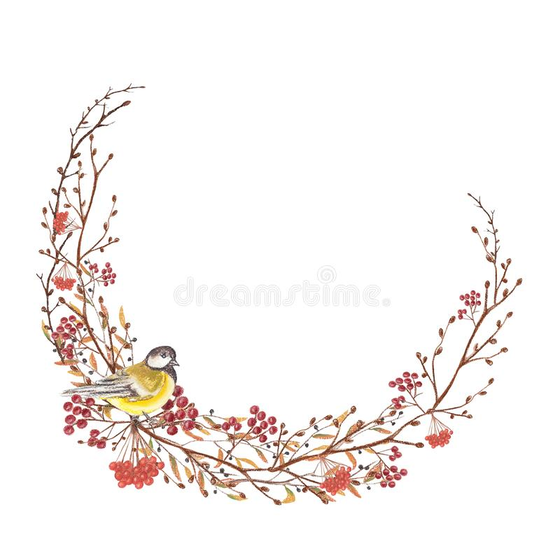 Capítulo con un pájaro y las ramitas, pintura en colores pastel stock de ilustración