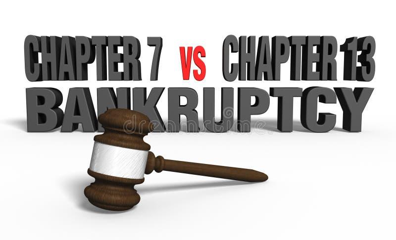 Capítulo 7 contra o capítulo 13 ilustração do vetor