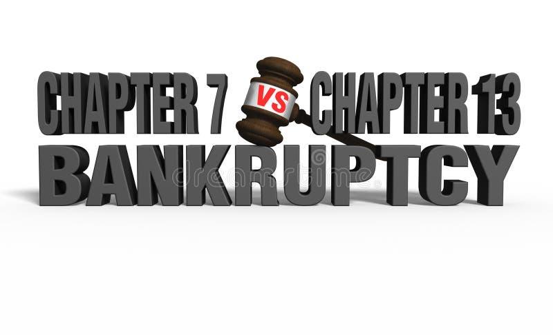 Capítulo 7 contra o capítulo 13 ilustração royalty free