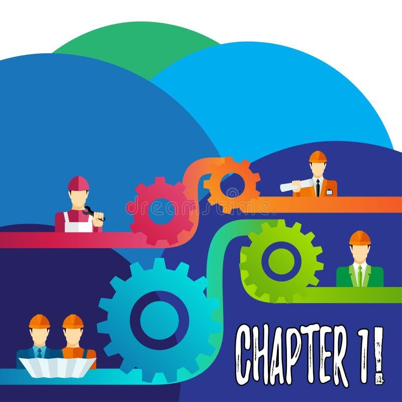 Capítulo 1 da escrita do texto da escrita Significado do conceito que começa algo novo ou que faz mudanças grandes em umas viagem ilustração royalty free