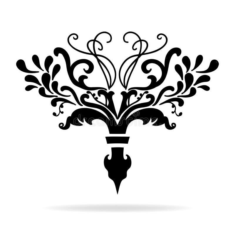 Capítulo da flor de lis ou projeto extravagante do divisor do texto com videiras e ondas ilustração stock