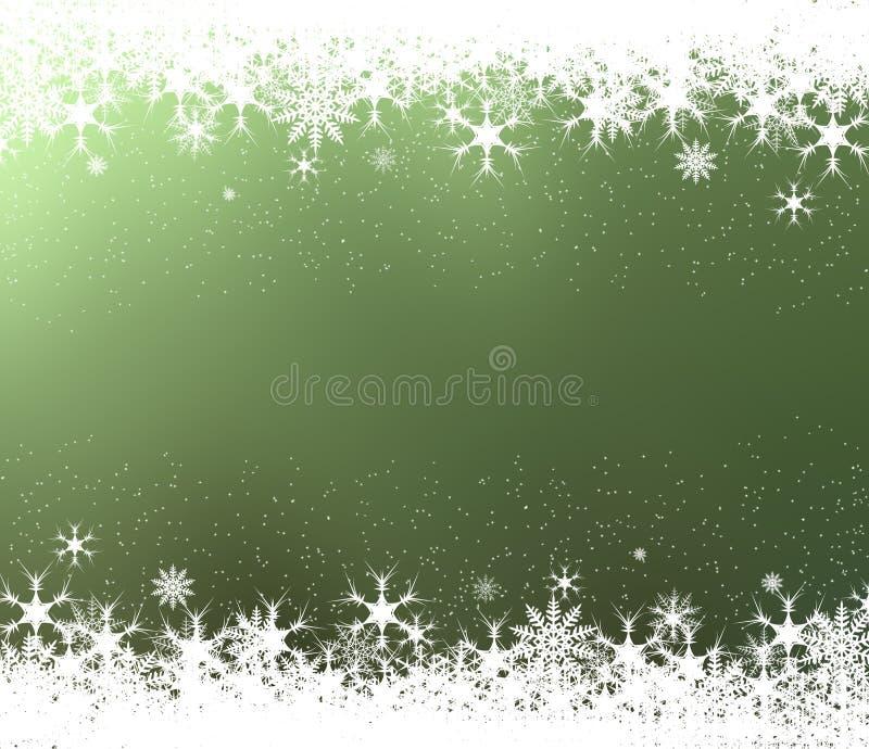 Capítulo de copos de nieve en fondo verde ilustración del vector