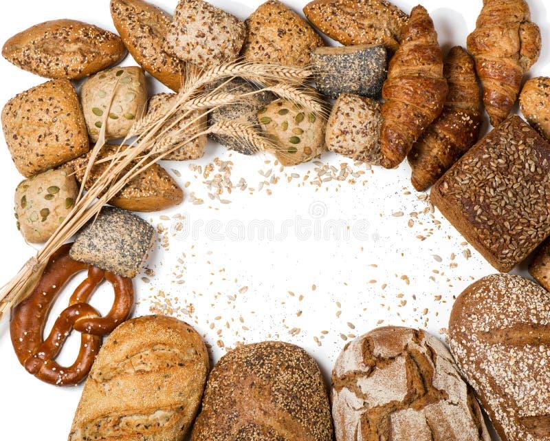 Capítulo de diversos tipos de pan y de rollos, sobre la visión imagen de archivo