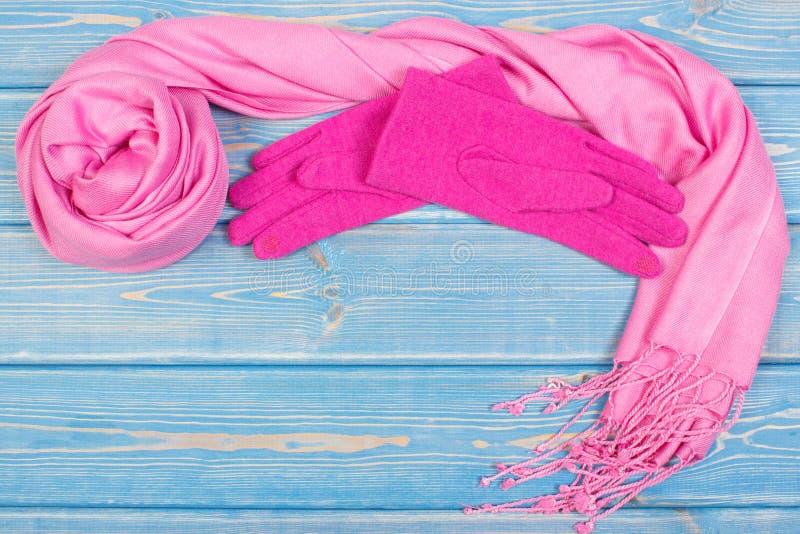 Capítulo de guantes y mantón femenino, ropa para el otoño o invierno, espacio de la copia para el texto imagenes de archivo
