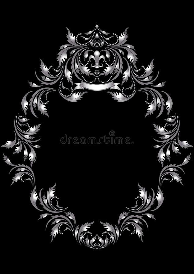 Capítulo de la hoja de plata en viejo estilo en un backg negro ilustración del vector