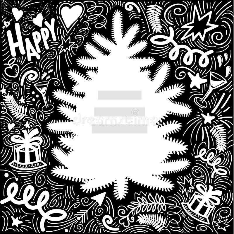 Capítulo de la pizarra para la enhorabuena con la silueta del árbol stock de ilustración