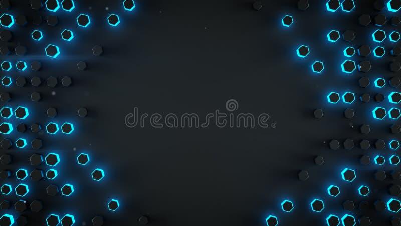 Capítulo de la representación abstracta 3D de los haxagons azules futuristas libre illustration