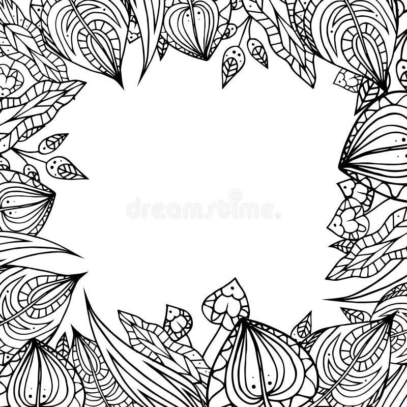 Capítulo de las hojas blancos y negros del garabato stock de ilustración