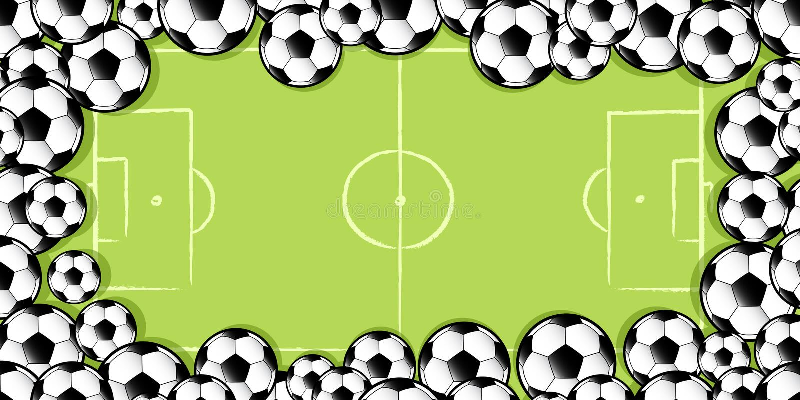 Capítulo de los balones de fútbol en echada del fútbol ilustración del vector