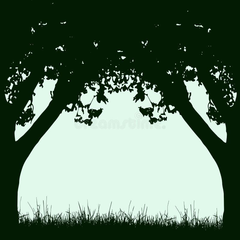 Capítulo de los troncos y de las ramas de árbol con follaje en los wi retros del estilo ilustración del vector