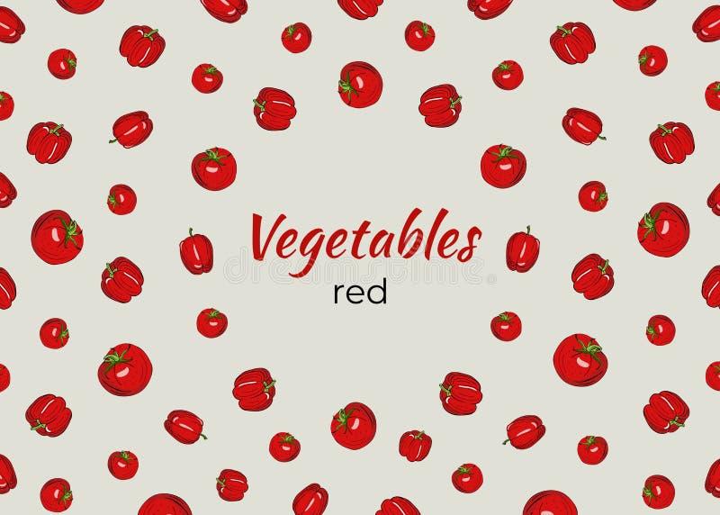 Capítulo de verduras en rojo en un fondo ligero stock de ilustración