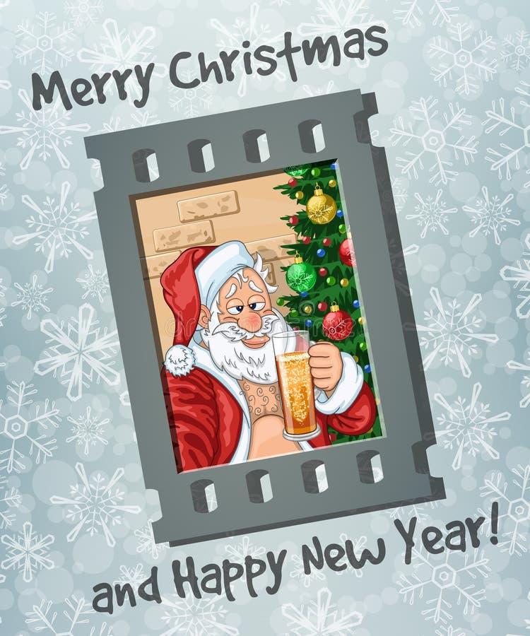 Capítulo del selfie de Santa Claus con la cerveza ilustración del vector