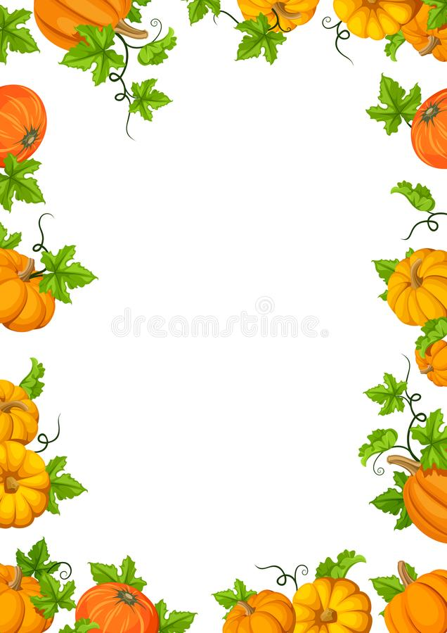 Capítulo el fondo con las calabazas y las hojas anaranjadas del verde Ilustración del vector ilustración del vector