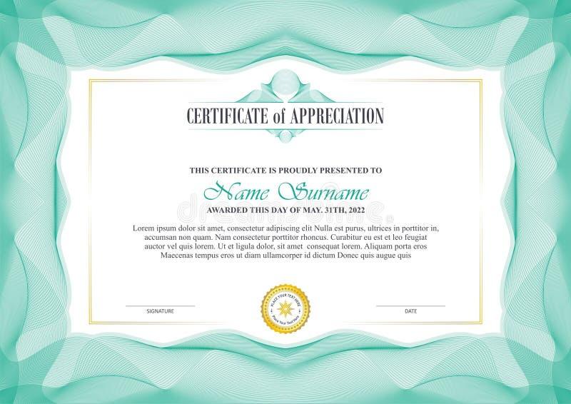 Capítulo elegante del certificado con diseño de la frontera del guilloquis ilustración del vector