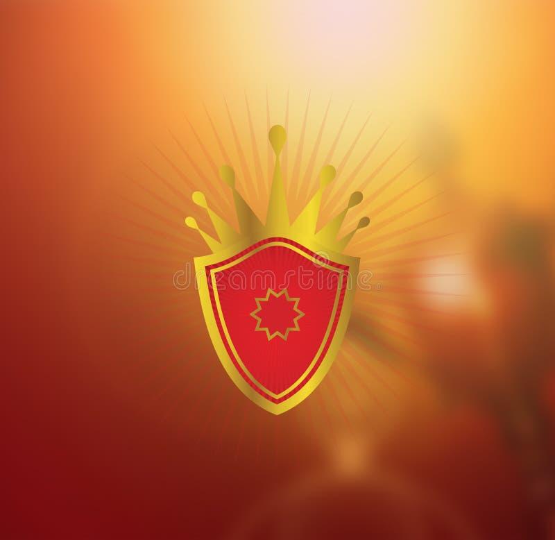 Capítulo elegante victoriano del escudo de la heráldica decorativa de la corona - 22 de julio de 2017 ilustración del vector