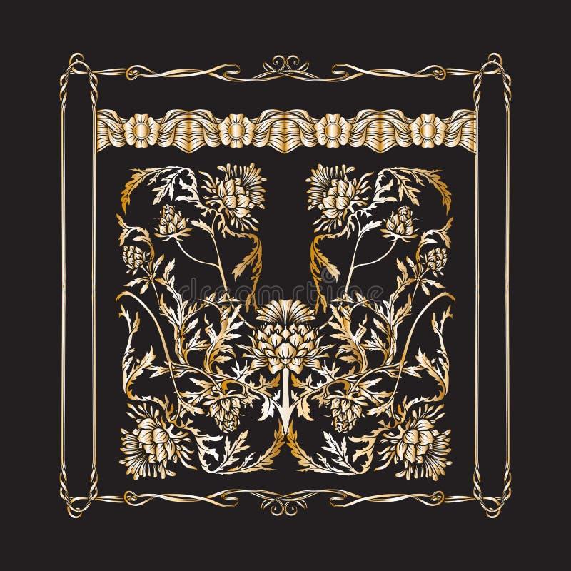 Capítulo en estilo del art nouveau con el cardo En negro y colores oro libre illustration