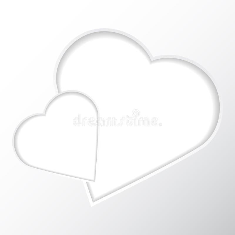 Capítulo en un fondo blanco bajo la forma de dos corazones para sus fotos ilustración del vector