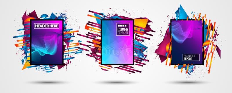 Capítulo futurista Art Design con formas y descensos abstractos de colores detrás del espacio para el texto Tha artístico moderno ilustración del vector