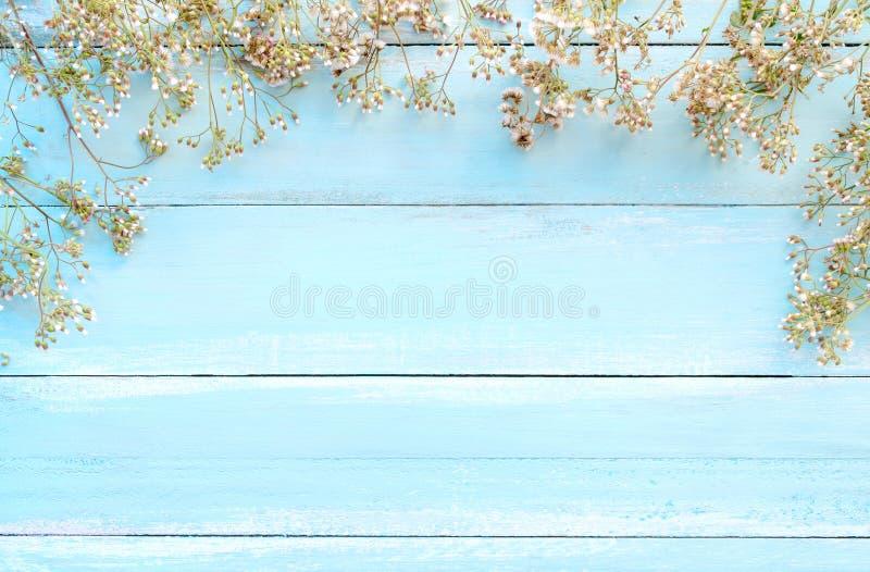 Capítulo hecho de las flores salvajes blancas en fondo de madera azul foto de archivo libre de regalías
