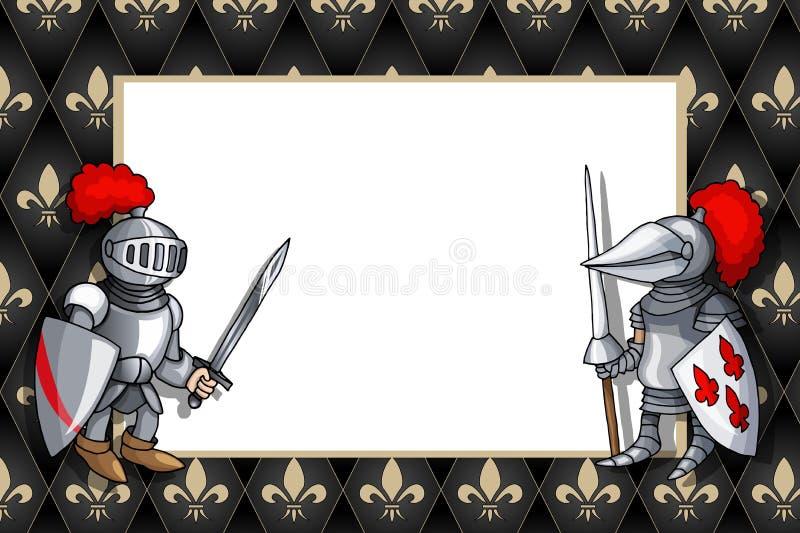 Capítulo horizontal con el caballero con la espada y el escudo en el fondo medieval libre illustration