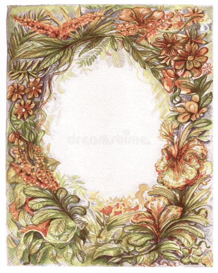 Capítulo la flora del vintage del fondo de la pintura del color de agua de la naturaleza stock de ilustración