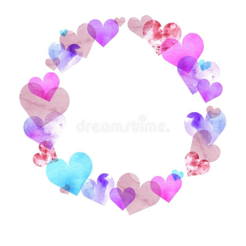 Capítulo la forma redonda de los corazones de la acuarela de diversos colores y texturas ilustración del vector