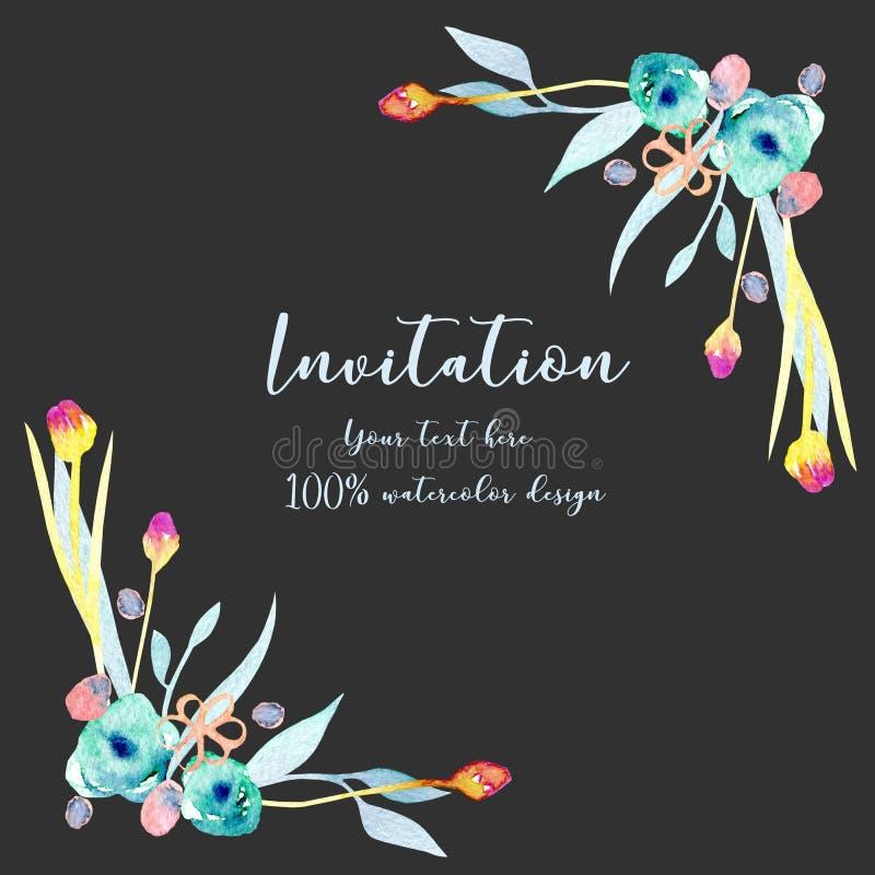 Capítulo la frontera con las flores abstractas azules y amarillas simples de la acuarela stock de ilustración
